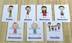 Flash cards with Spanish words and coordinated pictures