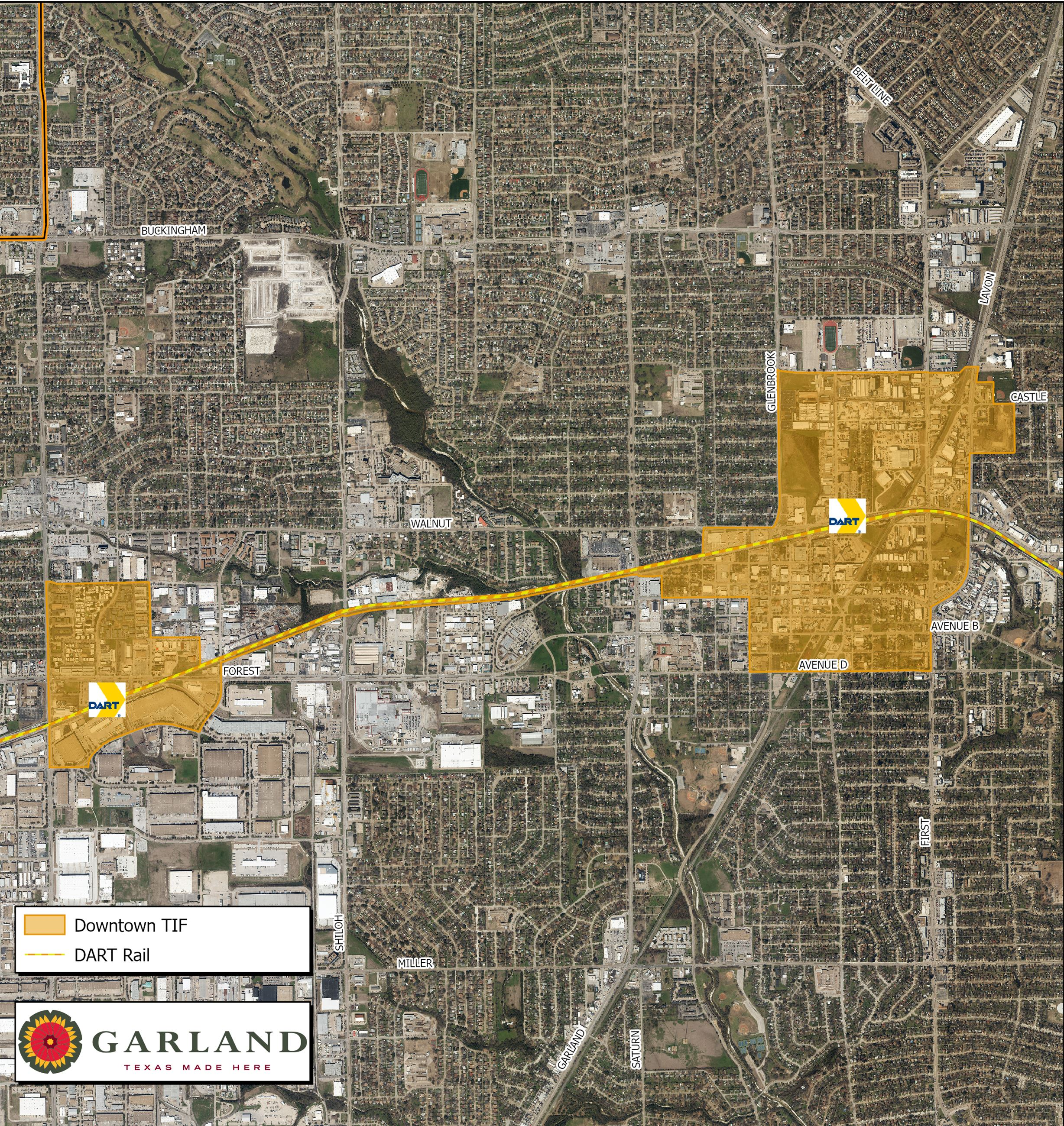 map of the Downtown TIF district in Garland